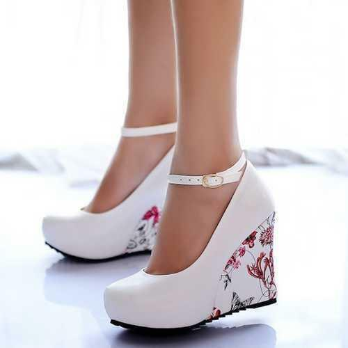 New Summer Womens Sandals Ankle Strap High Platform Wedge  Floral Shoes All Size
