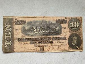 10 Dollars 1864 États Confédérés D'amérique Billet-afficher Le Titre D'origine
