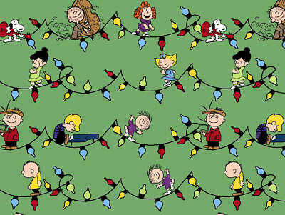 100/% COTTON FABRIC SNOOPY AND WOODSTOCK CHRISTMAS IN GREEN