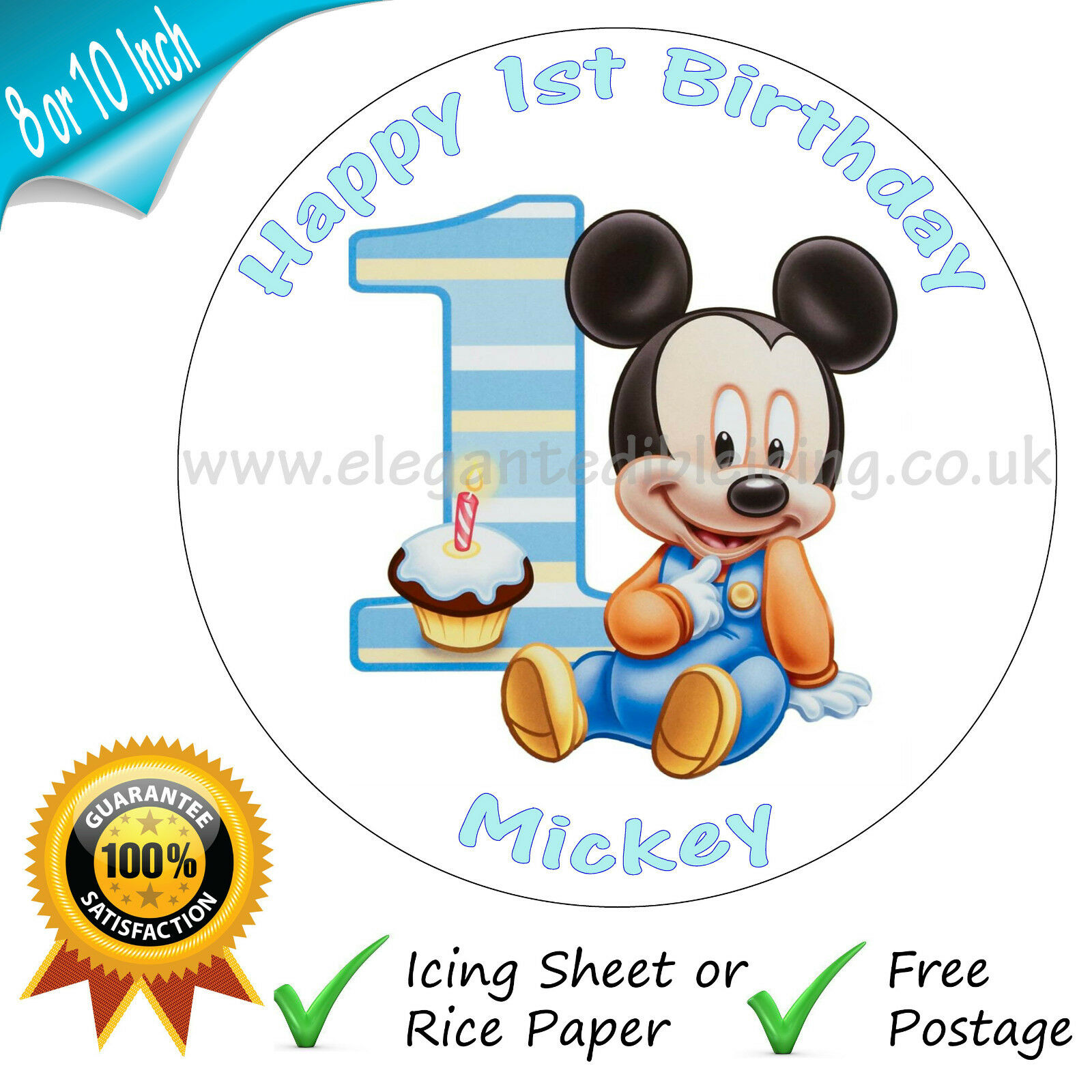 Amazing Baby Mickey Mouse 1St Birthday Cake Personalised Edible Round Cake Personalised Birthday Cards Petedlily Jamesorg