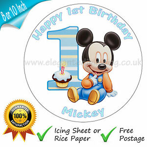 BABY MICKEY MOUSE 1ST BIRTHDAY CAKE PERSONALISED EDIBLE ROUND CAKE