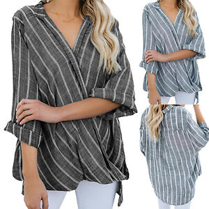 Women-039-s-Casual-Loose-V-Neck-Long-Sleeve-T-Shirt-Tops-Striped-Blouse-Plus-Size-US