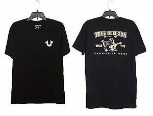 Jean à et True homme logo coupe doré shirt à courtes Religion pour Brand à noir Tee logo manches ajustée 7Ex8Er