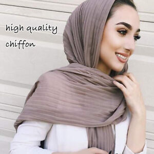 Muslim-Women-Plain-Pleat-Chiffon-Wrinkle-Long-Shawl-Hijab-Crumple-Scarf-Popular