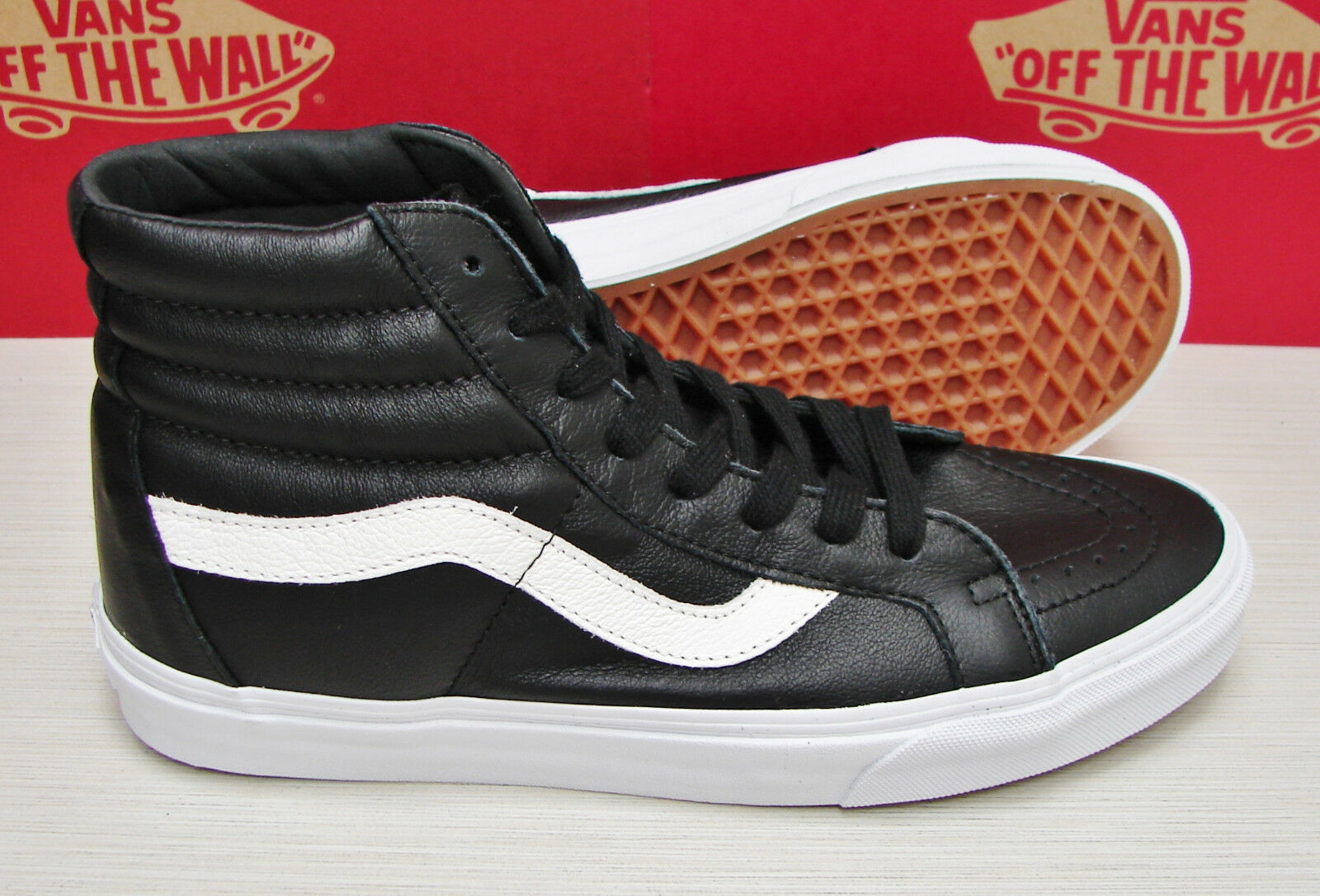 Vans SK8 Hi Reissue Premium Leather Black VN000ZA0EW9 Women's Shoes Size 6.5