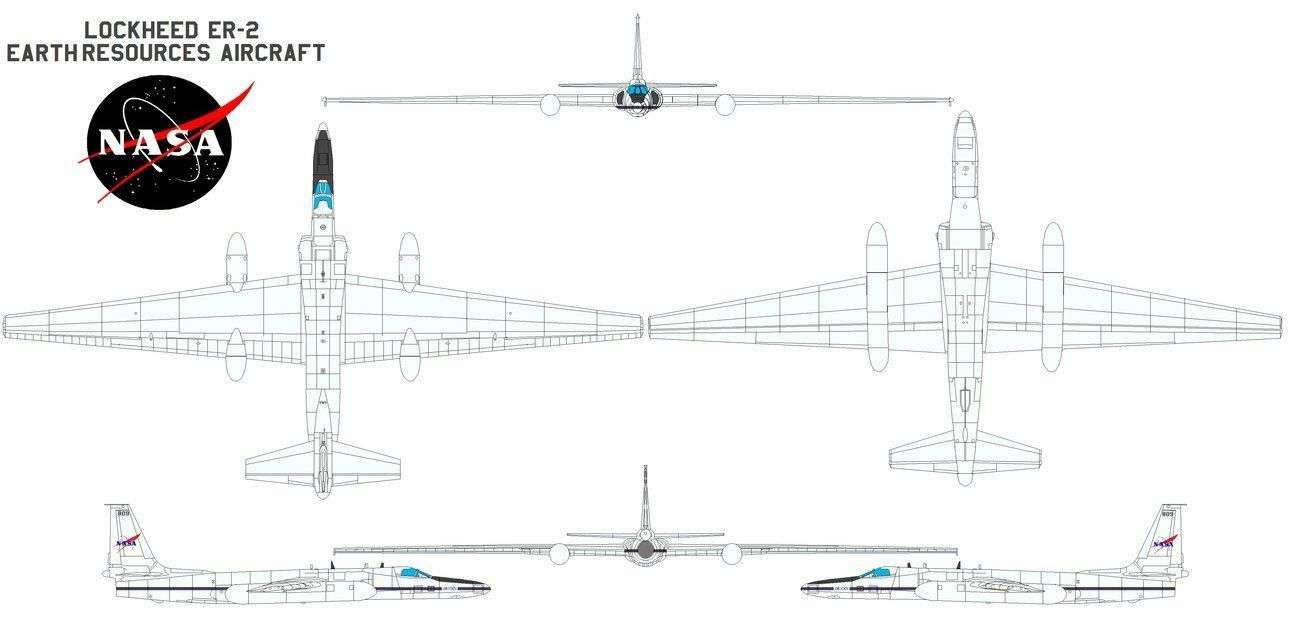 U-2 Dragon Señora Gran Altitud Altitud Altitud Espía Avión Nasa ER-2 Airborne Ciencia Bardana 5f58de