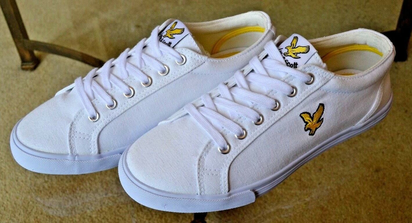 Lyle & Scott Mens Trainers Pumps Deck shoes Brilliant White gold Eagle Sz. UK 6