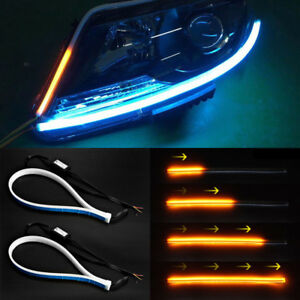 1 Set Ultra Thin Car Soft Tube LED Strip Daytime Running Light Turn Signal Lamps