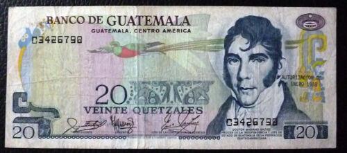 GUATEMALA BANKNOTE 20 Quetzales Pick 62d VF 1988