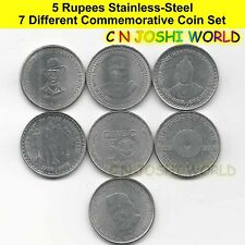 Rare 7 Different Stainless Steel 5 Rupees Commemorative Five Rupees Coin Set