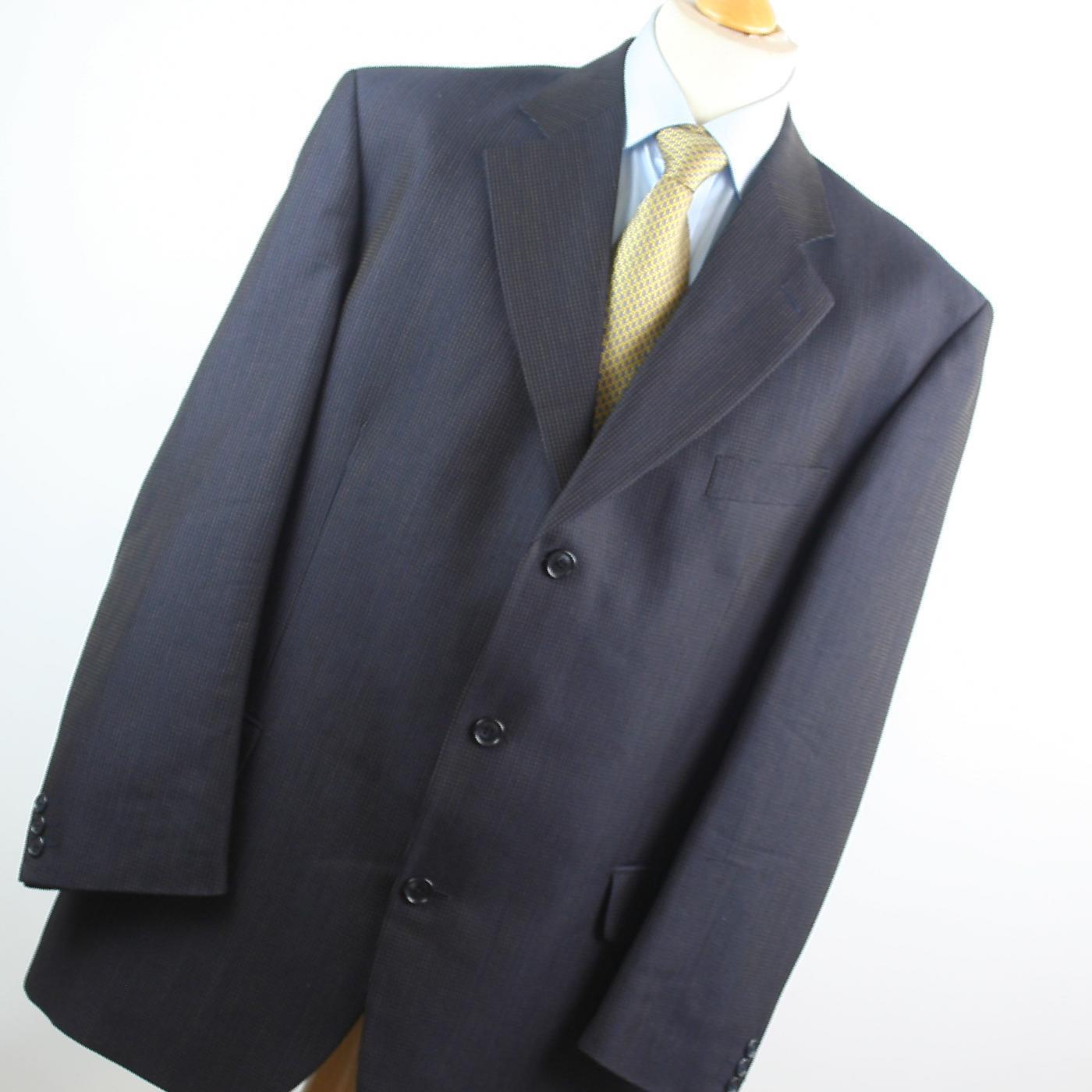 Van Kollem  Herren Blau Striped Wool Blend Single Breasted Suit 44/40 (Regular)