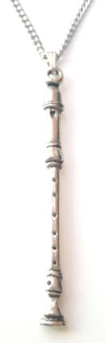 Recorder Pendant Handcrafted in Solid Pewter In The UK Free Gift Box PN58