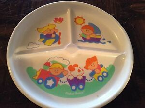 Bowls & Plates Fisher Price Plastic Kids Divided Dish 1990