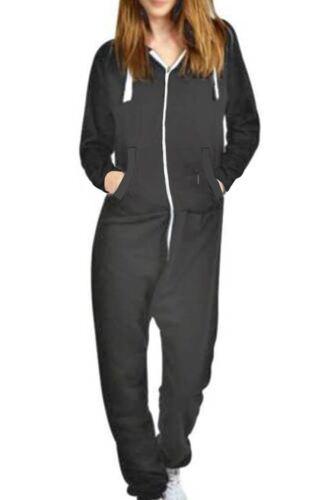 Women All In One 1Onesie Hooded Hoody ZipUp Long Sleeve Ladies Jumpsuit Dungaree