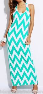 Aqua-White-Zig-Zag-Chevron-Stripe-Racerback-Sleeveless-Tank-Maxi-Dress-S-M-L