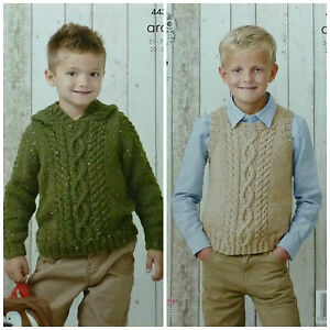 d7b8159d5 Image is loading KNITTING-PATTERN-Childrens-Cable-Hoodie-amp-Sleeveless- Jumper-