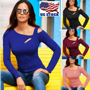 Women-Long-Sleeve-Cut-Out-Cold-Shoulder-Top-Ladies-Bodycon-Casual-T-Shirt-Blouse