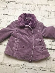 71a6b7feb0fc Baby Girl s Next Coat Purple Fur Lined Suede Feel 6-9 Months