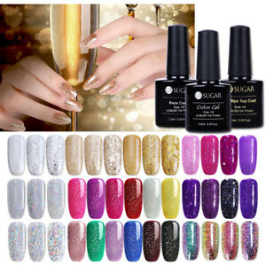 Champagne-Glitter-UV-Gel-Nail-Polish-Silver-Gold-Soak-Off-Varnish-Party-Show