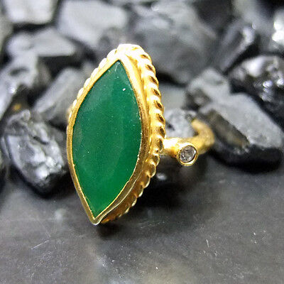 Handmade Hammered Nice Emerald Ring W/Topaz 22K Gold over 925 Sterling Silver
