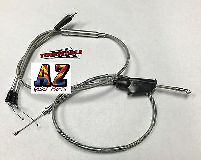 Banshee Steel Braided Black Billet Thumb Throttle Dual Large Carb Cable 35mm