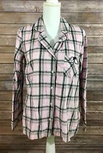 5a4e36fb11b11 Details about Victorias Secret Womens L/S Button Down Flannel Pajama Lounge  Shirt XS Plaid I21