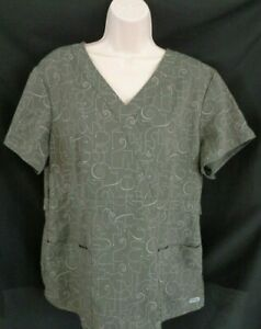 Grey-039-s-Anatomy-gray-short-sleeve-medical-scrub-women-039-s-XL