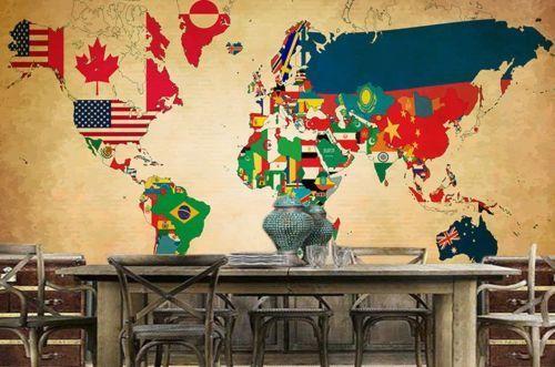 3D  Flag World Map 74 Wall Paper Murals Wall Print Wall Wallpaper Mural AU Kyra