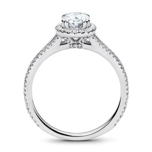 Beautiful 14K White Gold 1.35 Carat Oval Cut Moissanite with Accents Halo Ring