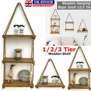 Wood Floating Storage Shelves Shelves Hanging Shelf with Jute Rope for Wall Rustic Bedroom Living Room Bathroom Decor Shelves 1//2//3 Tier 2 Tier,Dark Grey