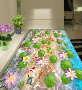 3D Lotus Leaves Pond 89 Floor WallPaper Murals Wall Print Decal AJ WALLPAPER US