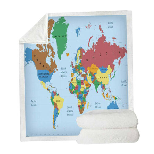 "Soft Microfiber Sherpa Throw Blanket Map Patterns Sofa Throw Blanket 50x60/"""