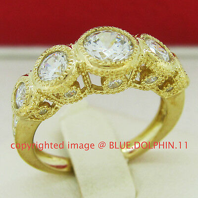 Antique Genuine Solid 9ct Yellow Gold Engagement Wedding Ring Simulated Diamonds