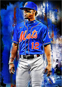 2021 Francisco Lindor New York Mets 24/25 Art ACEO Sketch Print Card By:Q