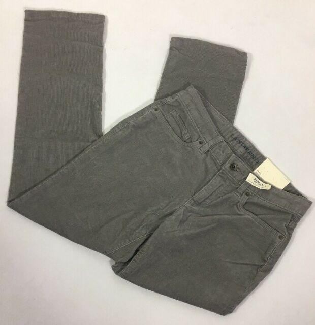 Lands' End Women's Size Fit 2 Straight Leg Corduroy 5 Pocket Gray Mid Rise New