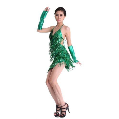 NEW Hot Lady Cocktail Party Latin Ballroom Salsa Dance Sequin Fringe Club Dress