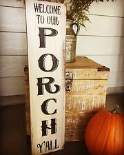 "Large Rustic Wood Sign - ""Welcome To Our Porch Y'all"" - Fixer Upper, Fall"