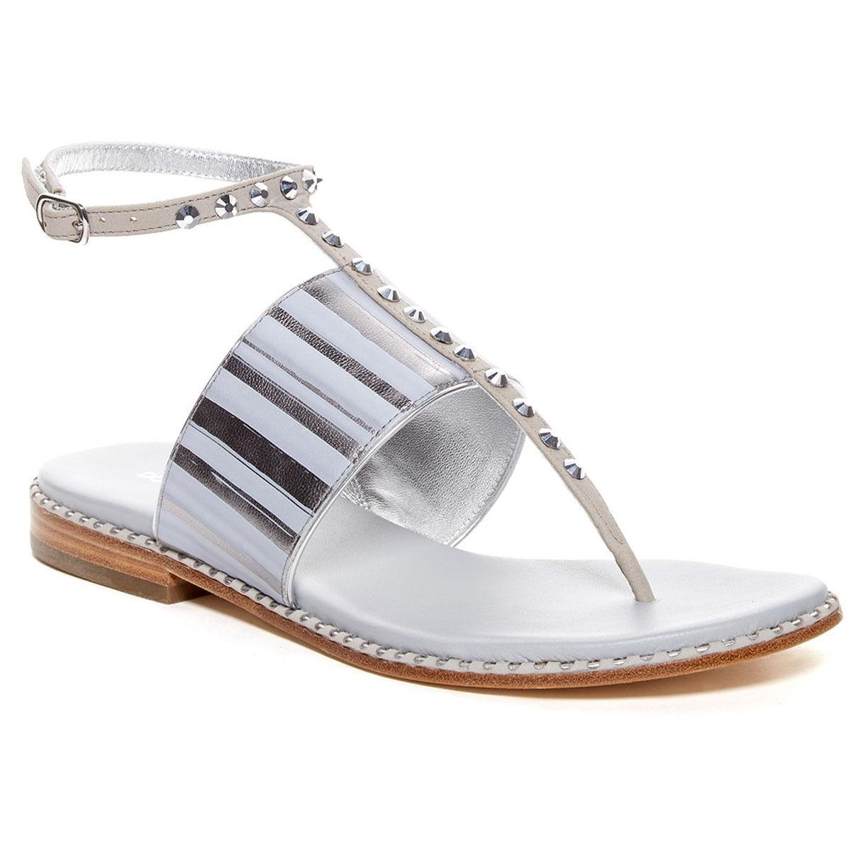 Donald J Pliner Donna Lacysp T-Strap Slip On Open Toe Studded Thong Sandals