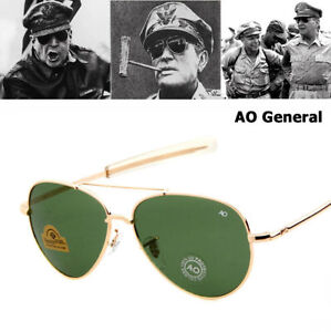 37a68bc681 Image is loading Army-MILITARY-MacArthur-Aviator-Style-AO-General-Sunglasses -