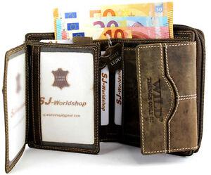 Damen-Echt-Leder-Portemonnaie-Brieftasche-Geldboerse-Wallet-034-WILD-034-SJ-00161