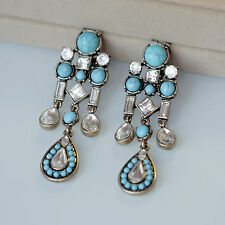 Boucles d`Oreilles Clips Pinces Doré Chandelier Perle Turquoise Bleu Retro X11