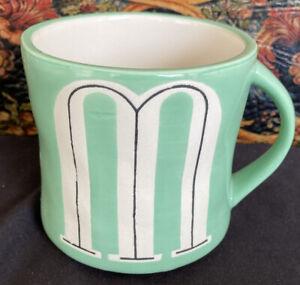 "Anthropologie Hand Painted Monogram Initial ""M"" Green Coffee Colorway Mug Cup."