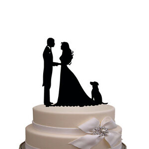 Funny Wedding Cake Topper Bride And Groom Silhouette With Dog Pet Ebay