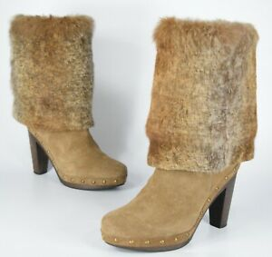 Andre-Assous-Size-9-REAL-Rabbit-Fur-Suede-Studded-Booties-Beige-Foldover-Boots
