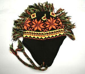 Black-Neon-Orange-amp-Neon-Green-Unisex-Mohawk-Style-Fair-Isle-Winter-Beanie-OS