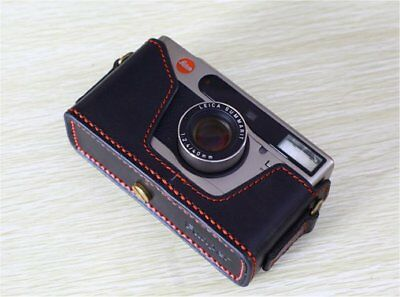 Leica Minilux//Minilux Zoom de cuero negro con estuche de media puntada rojo-totalmente Nuevo