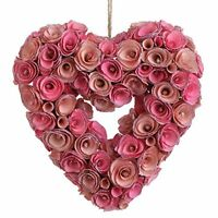 Raz Imports - Spring Collection - 10 Pink Rose Heart Wreath Ornament