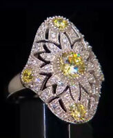 Xavier 2.61ct Absolute Canary Sunburst Sterling Silver Shield Ring Size 7