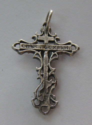 Croix orthodoxe ancienne Slave Jésus Christ Crucifix Argent Sterling 925 #110