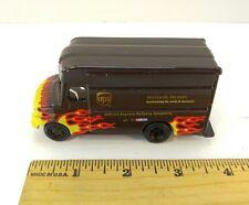 "diecast metal Brown UPS Package Delivery Truck, ~4"" Long, w/Racing Flames, used"